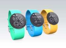 Colorful smart watches isolated on gray background Royalty Free Stock Images