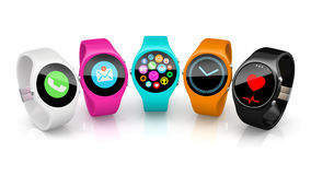 Colorful smart watchs isolated on white background 2 Stock Photo