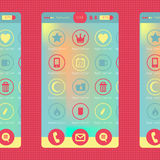 Colorful smartphone and tablet graphic. Colorful smartphone and tablet graphic flat modern user interface vector illustration with flat design icons and spaces Royalty Free Stock Photo