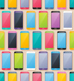 Colorful smartphones seamless pattern. Flat style. Royalty Free Stock Photos
