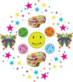 Colorful Smiles with Confettii and Toys stock illustration