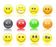 Colorful smiles icon set Stock Photography