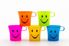 Colorful of smiley cup. Royalty Free Stock Images