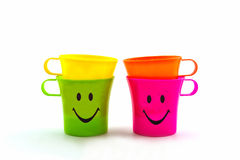 Colorful of smiley cup. Stock Images