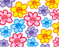 Colorful smiling cartoon flowers pattern Royalty Free Stock Photography