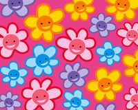 Colorful smiling  flowers pattern Royalty Free Stock Photography