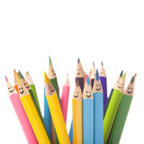 Colorful smiling pencils stock images