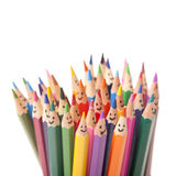 Colorful smiling pencils stock photo