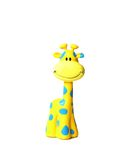 Colorful smiling toy giraffe with blue spots. Isolated on white Stock Image