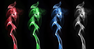 Colorful smoke clouds set Stock Photography