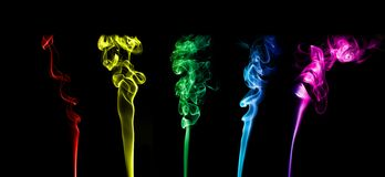 Colorful smoke. Selection of colorful smoke on black buckground Royalty Free Stock Photography