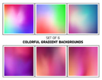 Colorful smooth blurred gradients vector backgrounds. Set of six abstract colorful smooth blurred gradients vector backgrounds for design Stock Images