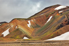 Colorful smooth mountains in Iceland Stock Photos