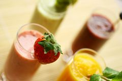 Colorful smoothies Royalty Free Stock Photo