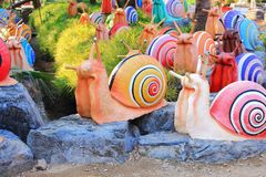 Colorful snail statue. The image of the beautiful snail statue in local garden Stock Photo