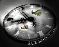Colorful snails racing against time.Black and white clock. royalty free stock photo