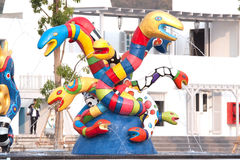 Colorful of snake sculpture in amusement park Stock Images