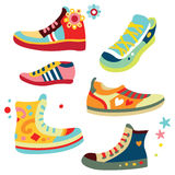 Colorful Sneakers. Lots of hip sneakers with bright colors Royalty Free Stock Photography