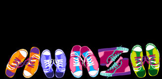 Colorful Sneakers Training Sport Shoes Set Collection Banner With Copy Space Royalty Free Stock Photos