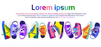 Colorful Sneakers Training Sport Shoes Set Collection Banner With Copy Space Stock Photo