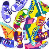 Colorful Sneakers Training Sport Shoes Set Collection Banner Royalty Free Stock Image
