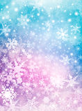 Colorful Snow Background. Softly colored snowflakes on a textured paper background. Image displays a pleasing paper grain and texture at 100 percent Stock Illustration