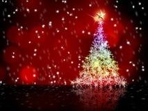 Colorful snow Christmas tree Stock Photo