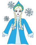 Colorful snow queen winter girl with snowflake Royalty Free Stock Photo