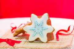 Colorful snowflake cookies Royalty Free Stock Photo