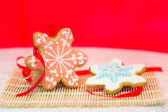 Colorful snowflake cookies Royalty Free Stock Photos