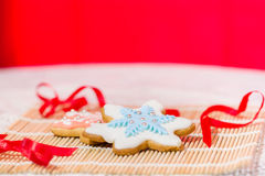 Colorful snowflake cookies Royalty Free Stock Image