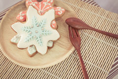 Colorful snowflake cookies Royalty Free Stock Photography