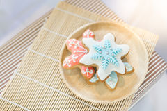 Colorful snowflake cookies Royalty Free Stock Images