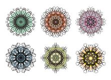 Colorful snowflake designs Stock Photos