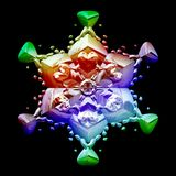 Colorful snowflake isolated on black Stock Images