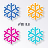 Colorful snowflake labels Royalty Free Stock Photography