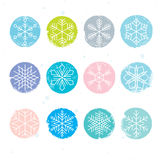 Colorful snowflake set Royalty Free Stock Images