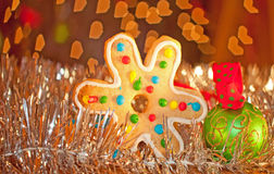 Colorful snowflake shaped Christmas cookie Royalty Free Stock Photo