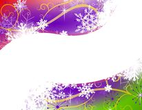 Colorful Snowflake Swoosh Border Background. A background illustration featuring a gradient purple, red and green swoosh surrounded by swirling wisps and Stock Photos