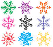 Colorful snowflakes Stock Photography