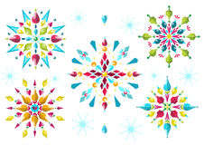 Colorful snowflakes. Colored Christmas snowflakes festive mood Royalty Free Stock Image