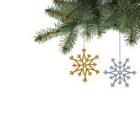 Colorful snowflakes hanging on the Christmas tree Stock Images