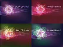 Colorful snowflakes set. Decorative Christmas postcard shining snowflakes set, vector illustration Stock Photo