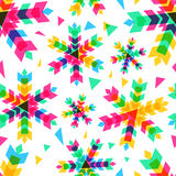 Colorful snowflakes, vector seamless pattern. New Year or Christ. Mas background Stock Photo
