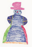 Colorful snowman with pink hat (original child picture) Stock Photos