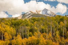 Colorful snowy fall Colorado landscape. stock photography