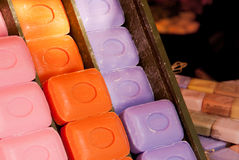 Colorful soap bars in the box the Nice Market Royalty Free Stock Photography