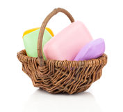 Colorful soap bars in the wicker basket Royalty Free Stock Images