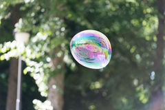 Colorful soap bubble in the air. Highly reflective colorful soap bubble floating in the air Royalty Free Stock Photo