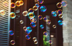 Colorful soap bubbles stock photos